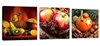 (12x12inchx 3) - Amoy Art -3 panels Kitchen Art Wall Decor Apple Orange Canvas Prints Artwork Pictures Paintings Photo to Canvas Stretched and Framed Ready to Hang (12x12inchx 3)