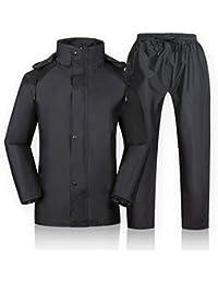 ZEMIN レインコート ポンチョ レインウェア スリッカー ウインドブレーカー 防水 カバー ズボン セット ユニセックス フルライナー ポリエステル、 黒、 4サイズあり (色 : ブラック, サイズ さいず : XXXL)