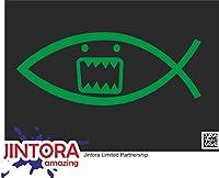 JINTORA ステッカー/カーステッカー - Domo fish - ドモ魚 - 210x83 mm - JDM/Die cut - 車/ウィンドウ/ラップトップ/ウィンドウ - 緑色
