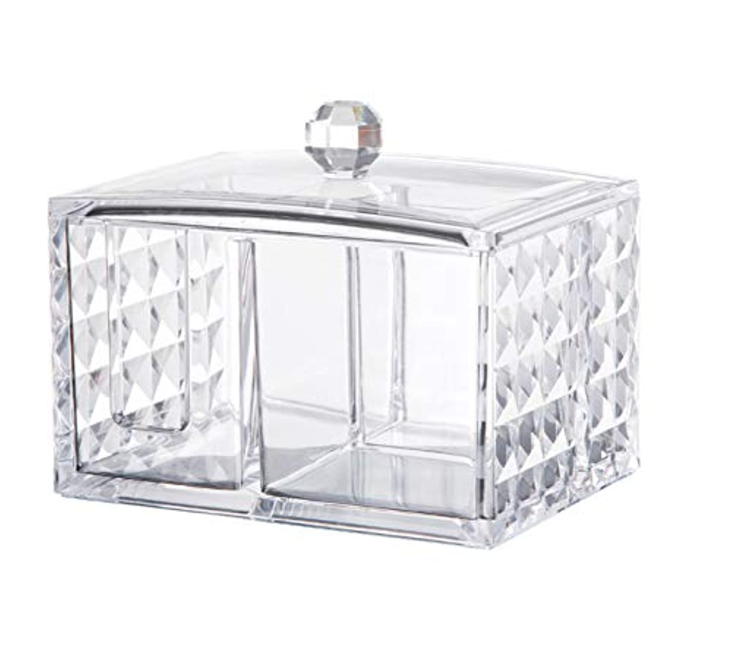 CUAFID アクリルケース コスメ収納ボックス コットン 綿棒 小物 メイクケース ジュエリーボックス 蓋付き アクリル製 透明 …