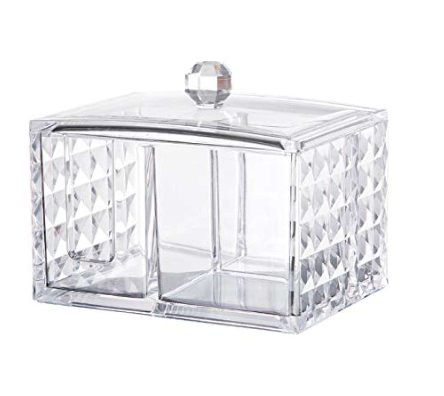 ドットぜいたく胚CUAFID アクリルケース コスメ収納ボックス コットン 綿棒 小物 メイクケース ジュエリーボックス 蓋付き アクリル製 透明 …