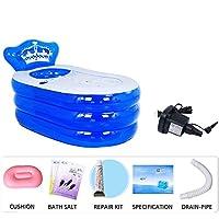 折りたたみ式インフレータブル厚く暖かい大人バスタブ、スパバスタブ、子供用インフレータブルプール、バスバレルプラスチック、ブルー (Color : Blue1, Size : M)