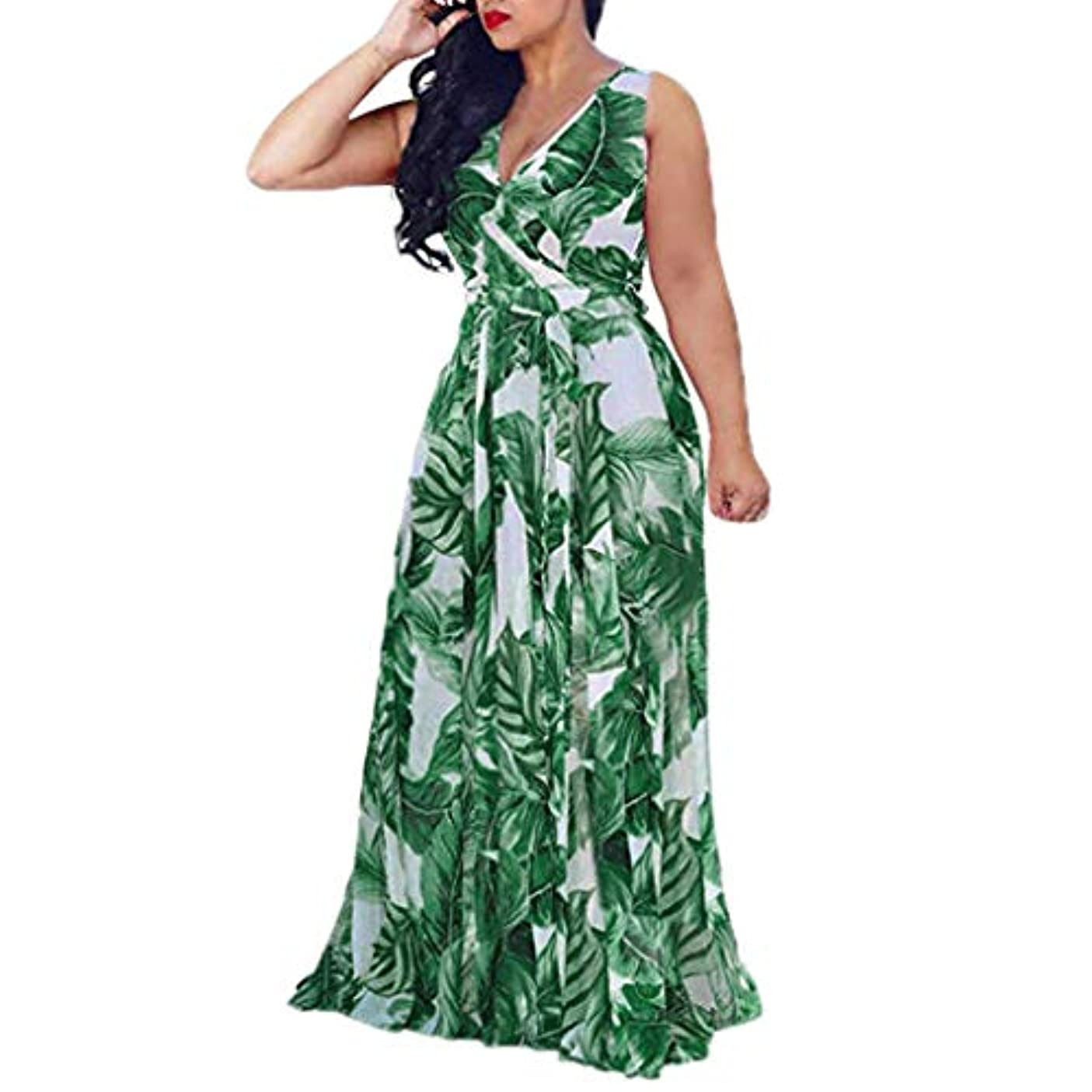 力学趣味車SakuraBest Womens Sleeveless Stylish Chiffon Dress With Belt V-Neck Printed Floral Maxi Dress