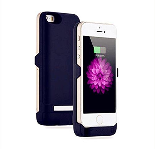 iPhone5/5s用 モバイルバッテリー内蔵ケース 大容量4200mAh スマホ充電 マットブラック