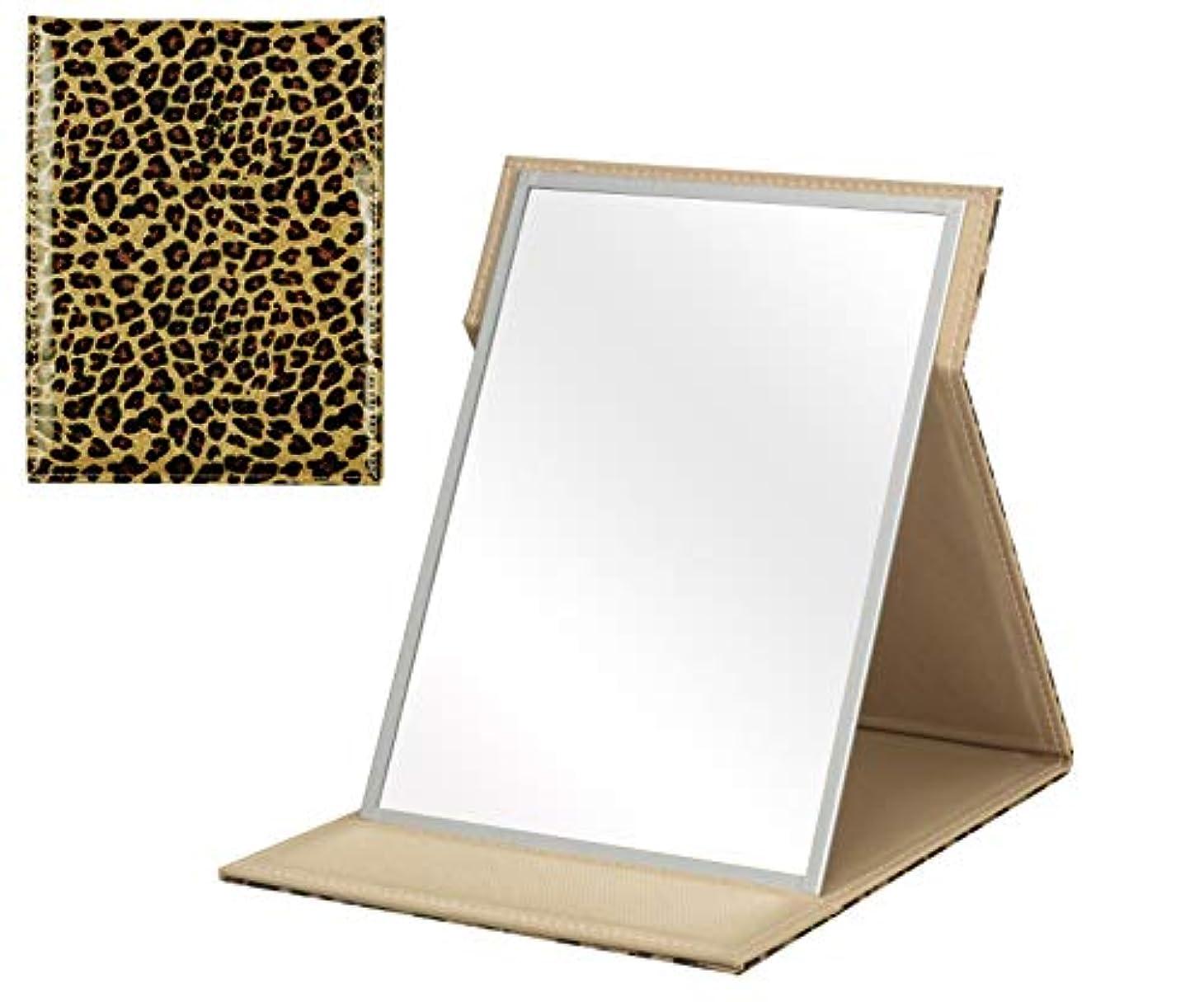 偶然たるみ検索手鏡 ミラー 折りたたみ 鏡 ヒョウ柄ゴールド フォールディング カバー IMPACT インパクトL