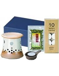 盛正白掛分茶香炉セット(化粧箱入)