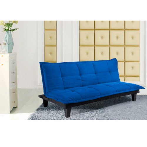 長さ180cm!/選べる7色 /折り畳みソファー/ソファーベッド/2人掛け 3人掛け(青)