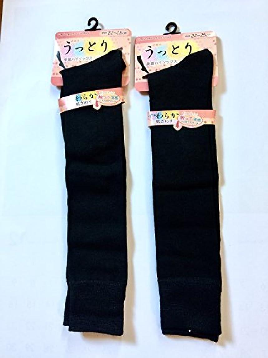 認めるバラ色ストライクハイソックス レディース 黒 ハイソックス 女の子 22~25cm 丈38cm 2足組