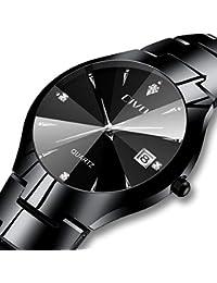 [チーヴォ]CIVO 腕時計 メンズ時計ステンレススチール アナログクオーツ防水ウオッチブラック 日付カレンダー シンプルデザイン おしゃれ ファッション ビジネス カジュアル メタル男性腕時計