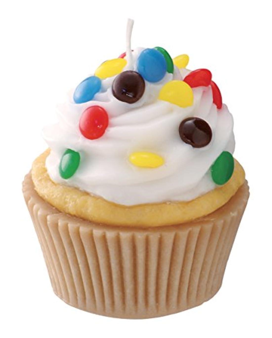 日曜日許可するインドカメヤマキャンドルハウス 本物そっくり! アメリカンカップケーキキャンドル ホワイトクリーム チョコレートの香り