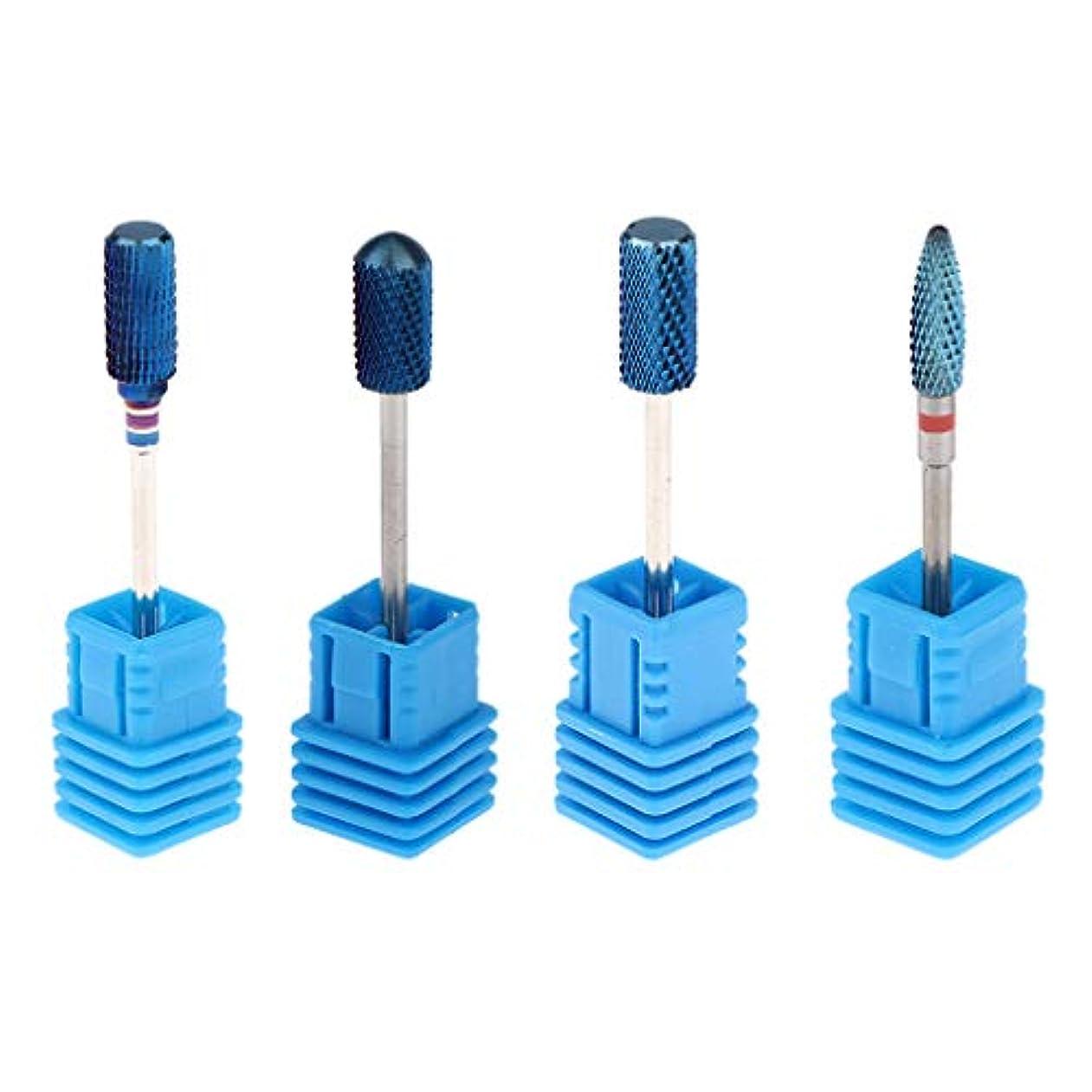 追い出すウガンダ雄弁家Perfeclan 4個セット ネイルドリルビット ネイルアートドリルビット4種類 タングステン鋼 耐久性 使いやすい