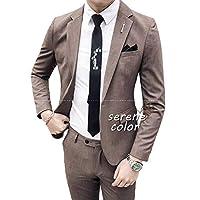 メンズ 春夏スーツ オケージョンブレザー 洗える 2点セット スーツ フォーマル セットアップ ビジネススーツ M グレー