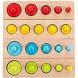Ms.0 円柱さし 4色セット 24pcs 木製 パズル 積み木 型はめ モンテッソーリ教育 PL保険加入済会社