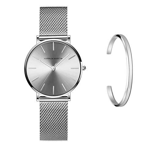 606ffe88eb85 Hannah Martin レディース 腕時計 おしゃれ クラシック シンプル 女性 時計 ビジネス クォーツ (シルバー)の画像