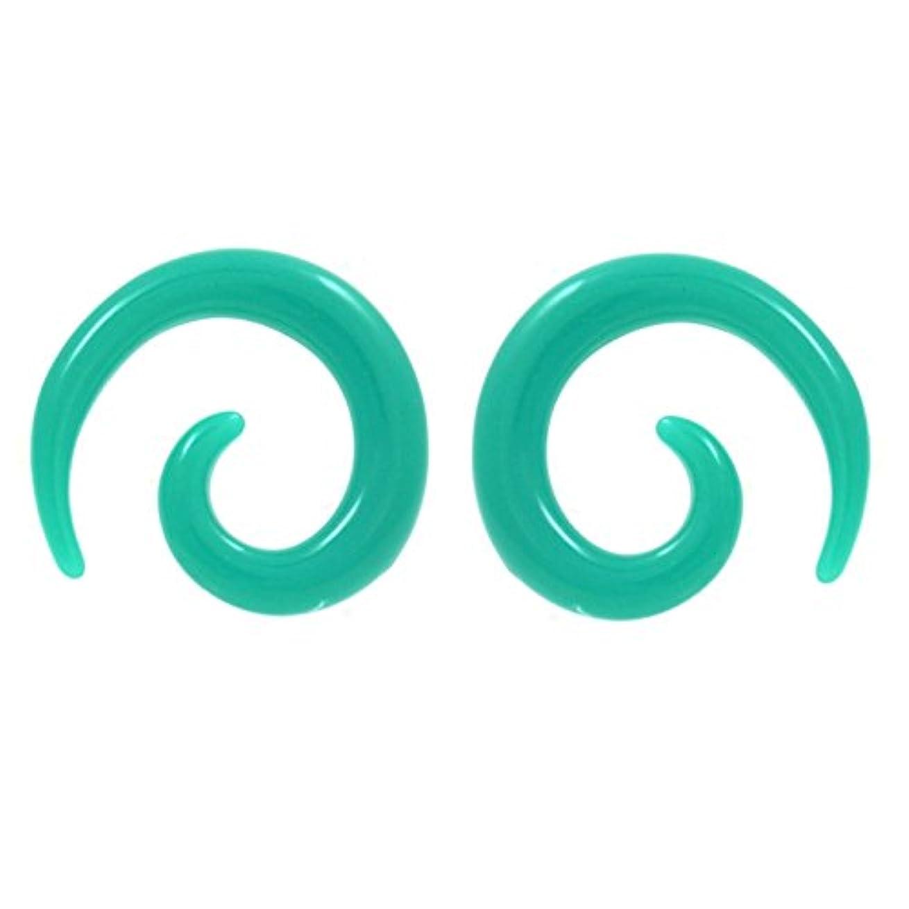 風クック文房具8ゲージ(8g 3 mm)ティール色付きアクリルスパイラルピアス向かっExpanderジュエリー – ペアで販売