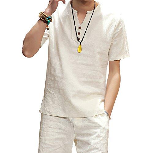「YOHO」(ヨーホー)麻 Vネック Tシャツ メンズ 半袖 無地 おしゃれ カットソー シャツ 半袖tシャツ メンズファッション (XL-日本サイズM相当, ホワイト(二点セット))