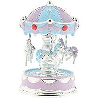 B Baosity 輝くカルーセル オルゴール 子供 誕生日 贈り物 家 装飾品 青紫