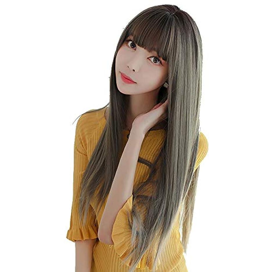 SRY-Wigファッション レディースウィッグ合成ロングストレートヘアファッションウィッグミドルセパレーション耐熱繊維自然に150%の密度を見る