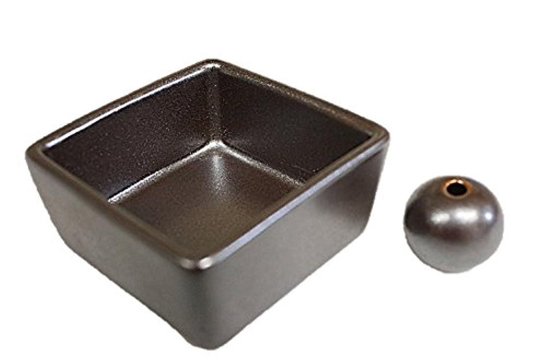 ハンカチ合併抽選和モダン 鉄器色 お香立て 陶器 角鉢 製造直売品