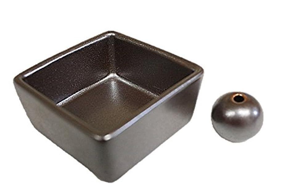 和モダン 鉄器色 お香立て 陶器 角鉢 製造直売品