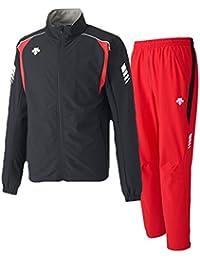 デサント(DESCENTE) トレーニングジャケット&パンツ 上下セット(ブラック/レッド) DRN-1710-BLK-DRN-1710P-RED