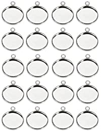 FITYLE 20 Pieces Silver Bezel Pendant Trays Single Loops Round Cabochon Settings Trays Pendant Blanks DIY Jewelry Making Findings 12mm Bezel