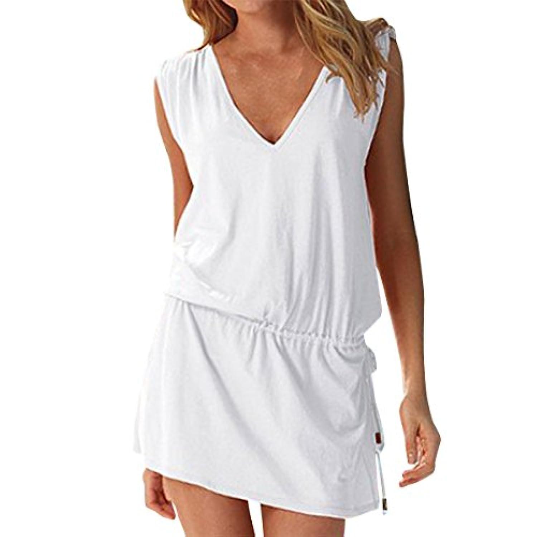 yanekopレディースSwimビーチドレス深いVネックオープンバックビーチカバーアップビーチスカート
