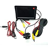 4.3インチLCDモニター 暗視切替機能塔載 4LEDバックカメラセット ケーブル配線つき ガイドライン付き 取り付け超簡単 駐車支援システム 12V車用 1年保証