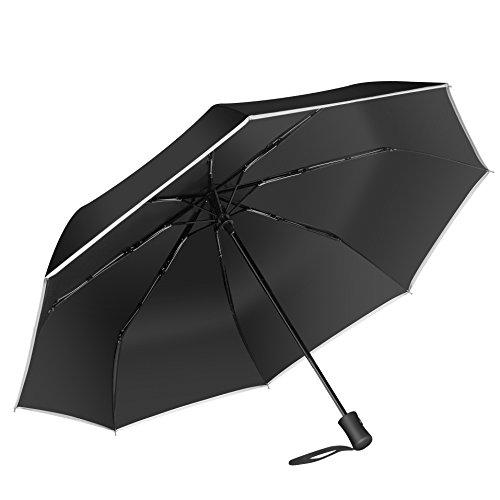 折りたたみ傘 梅雨対策 日傘 雨傘 ワンタッチ自動開閉 晴雨兼用 紫外線カット耐風撥水8本骨210T高強度 収納ポーチ付き (ブラック)