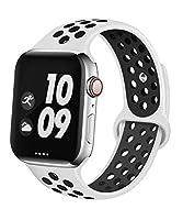Apple Watch Band 交換バンド コンパチブル Apple Watch 3 38MM Apple Watch 4/5 40MM コンパチブル Apple Watch バンド コンパチブル アップルウォッチバンド コンパチブルアップルソフトシリコンバンド apple watch バンド NEW Apple Watch Series 5 Series1/2/3/4 に対応 ( 38/40mm ホワイト + ブラック )