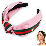 Foonee Knot Hairbands for Women, Wide Hair Hoops with Bee Animal, Stripe Style Headbands Headband with Cloth Wrapped for Girls - 7 Colors Optional