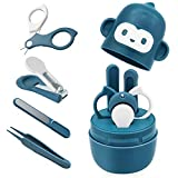 Bamoer Baby Nail Care Set, Baby Nail Kit 4-in-1 with Cute Travel Case | Baby Nail Clipper, Scissor, Nail File & Tweezer for Newborn, Infant, Toddler (Blue)