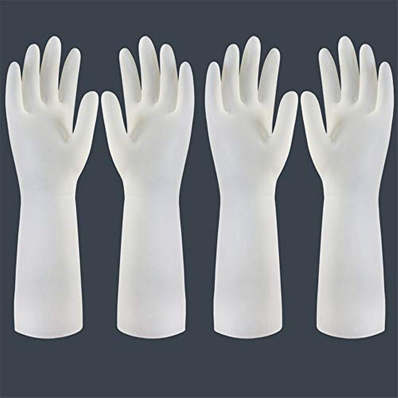 第五批判的ホーン使い捨て手袋 使い捨て手袋の防水および耐久のゴム製台所手袋、小/中/大 ニトリルゴム手袋 (Color : Long-2 pair, Size : S)