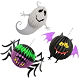phenovo ハロウィーン お祭り パーティ 装飾 カボチャ スパイダー 幽霊 ゴースト 提灯 ランプ ランタン 紙 3セット