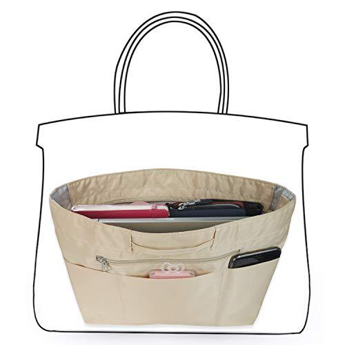 EveryJoy インナーバッグ バッグインバッグ 防水 軽量 大容量 仕切 収納バッグ 小物整理 出勤 旅行 bag in bag 15ポケット レディース メンズ (Mサイズ, ベージュ)