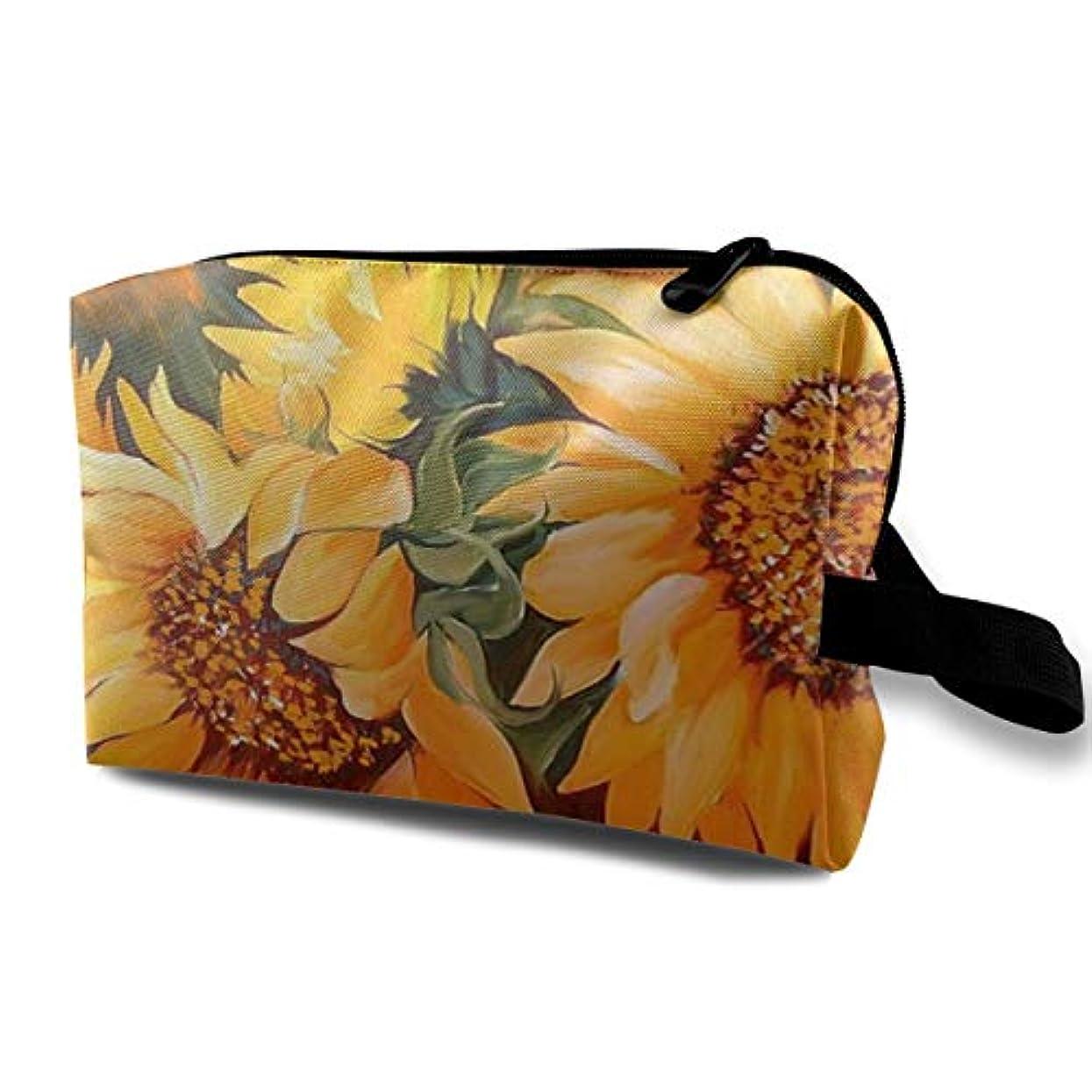 ドキュメンタリー天井贅沢Sunflower Painting 収納ポーチ 化粧ポーチ 大容量 軽量 耐久性 ハンドル付持ち運び便利。入れ 自宅?出張?旅行?アウトドア撮影などに対応。メンズ レディース トラベルグッズ