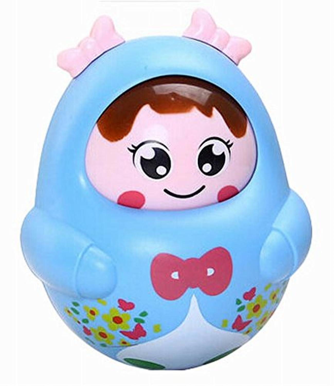 クリエイティブ赤ちゃんおもちゃLovely Nodding人形タンブラー幼児用おもちゃ、ブルー