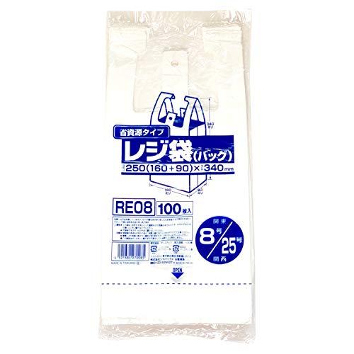 ジャパックス ポリ袋 乳白 横16×縦34cm マチ9cm 厚さ0.011mm レジ袋 開きやすい エンボス加工 RE-08 100枚入