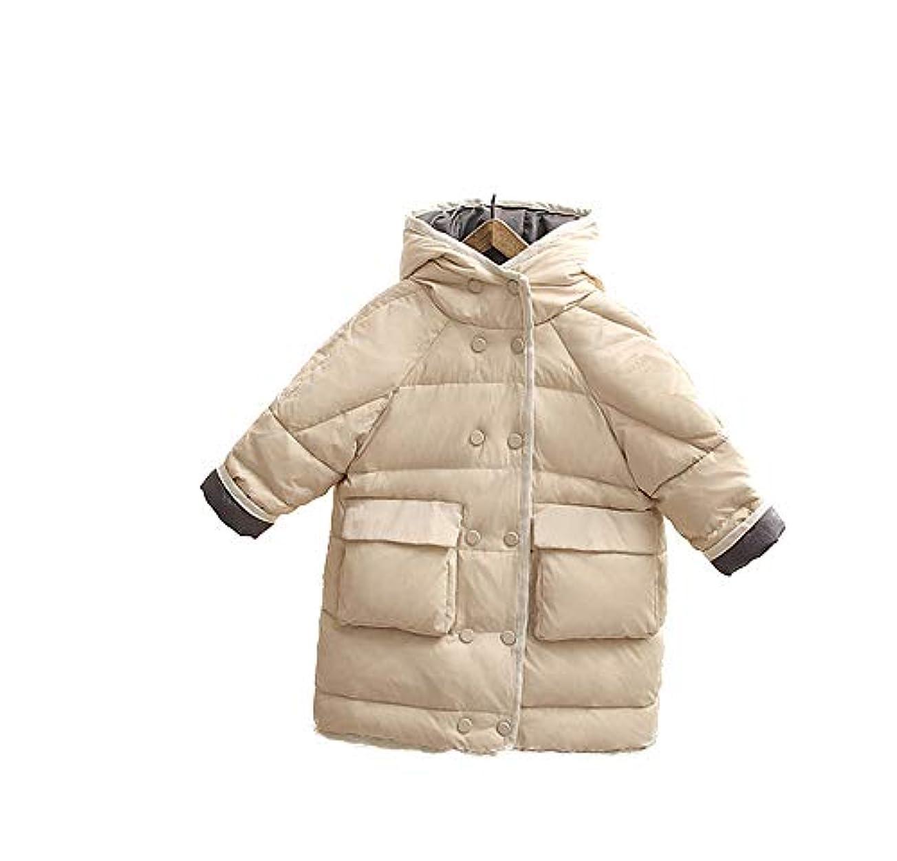 裕福なブルゴーニュ困惑[美しいです] ヒットカラー 秋冬 子どもたち ミッドレングス ダウンジャケット 男性と女性 子供服 保温する コート
