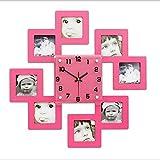 フォトフレーム 壁掛け時計 おしゃれ かわいい 北欧 人気 写真 静音 KF038-02 レッド