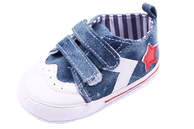 C-Princessベビー靴 キャンバスシューズ スニーカー 赤ちゃん キッズ 女の子 子供 マジックテープ かわいい カジュアル スポーツ ブルー 12cm