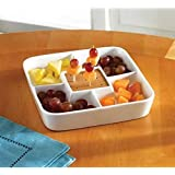 Food Server Display Plate ? Multi Sectional Compartment Serving Tray ? White Ceramic Square Appetizer and Snack Serving Tray
