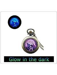 ムーンオオカミ懐中時計ペンダントネックレス、ガラス懐中時計ペンダント光る光る、懐中時計の宝石の画像のペンダント輝く、暗闇で光ります
