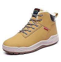 メンズスノーブーツ、冬の屋外スニーカープラスベルベット暖かいウォーキングシューズ厚い高トップ靴滑り止め安全ブート耐久性通気性飽き性履物,Yellow,44EU