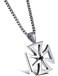 MFYS Jewelry ファッション メンズ アイアン クロス 十字 (チェーン付) (スチールシルバー) ペンダント ネックレス[ギフトボックスを提供]