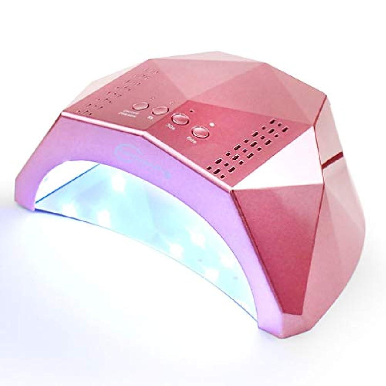 寓話赤面十億UV/LEDネイルライト、ポータブルネイルドライヤー、24W / 48Wスイッチ、3スピードタイミング、5秒速乾性、スマートセンサー、ブラックハンド(ピンク)