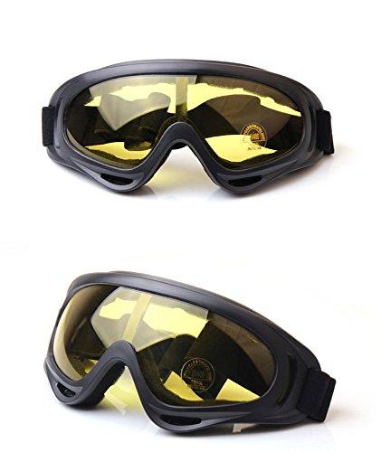 UISBOU スキー ゴーグル スノーボード UV400タイプ タクティカルゴーグル 耐衝撃 曇り止め 軽量 コンパクト フレーム柔軟性 選べる5色 ヘルメット/作業用インナーキャップ付き (イエローレンズ)