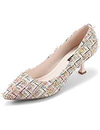 春季節レディースシューズストライプスティレットハイヒール指差しシューズ浅口靴 (色 : Style 1, サイズ さいず : 36)
