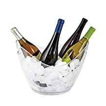 """True Ice Bucket Holder Chilling Tub for Indoor and Outdoor Use, Holds 4 Wine Bottles, 10.25"""", Clear"""
