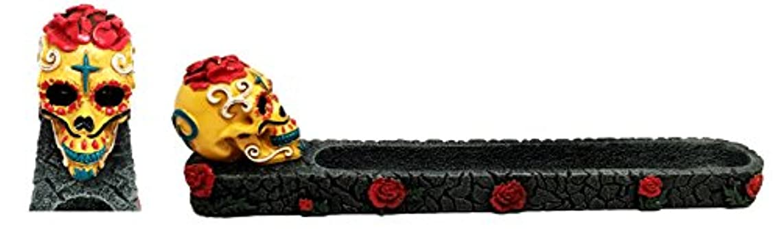 スリルギャロップ農学Dias De Los Muertos Day of the DeadレッドイエロースカルIncense Burner Sculpture